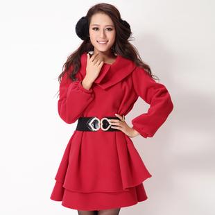 秋冬季新款女装韩版长袖小香风加厚毛呢外套大码毛呢连衣裙子