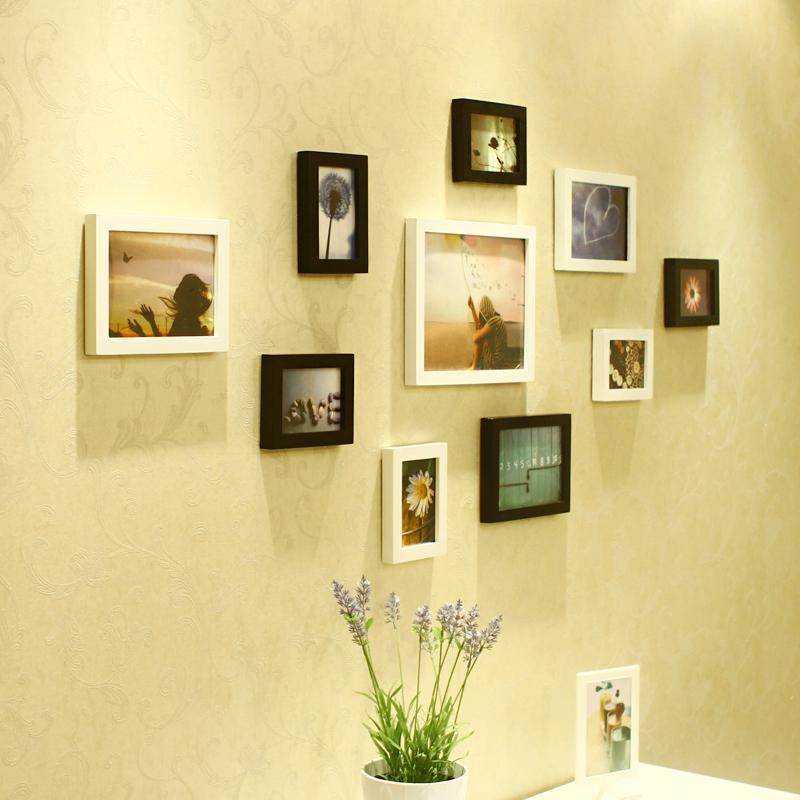 维佳 10框温馨创意时尚组合实木照片墙