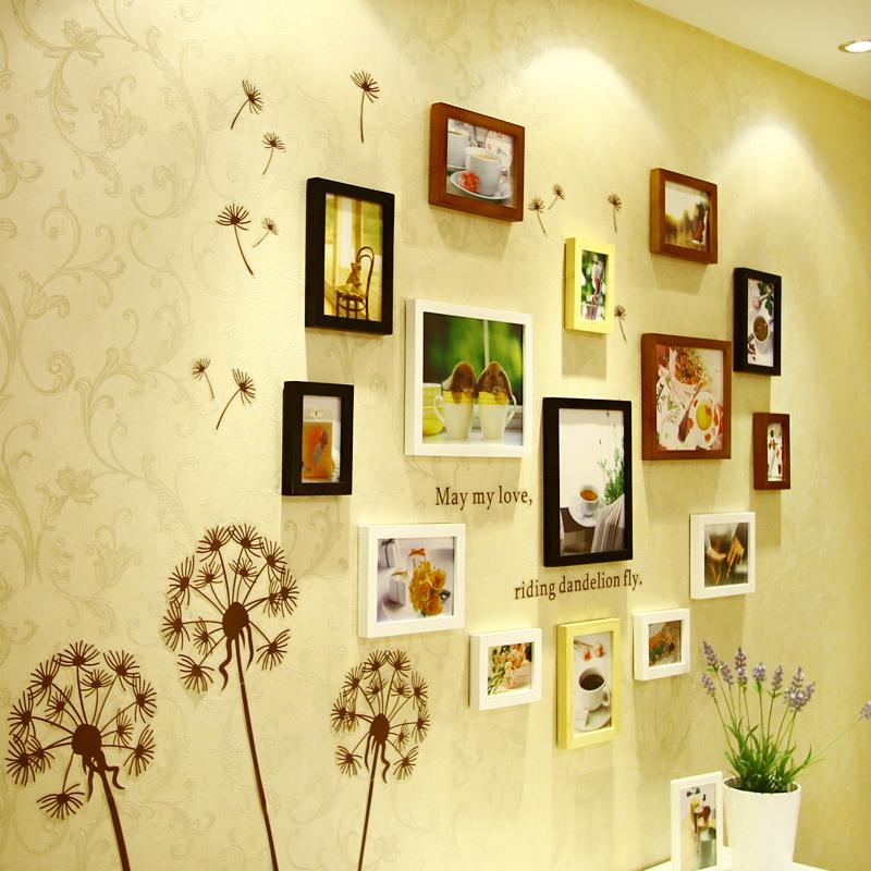 维佳 15框加厚实木心形照片墙