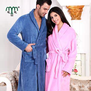 毛毛雨 珊瑚绒睡袍 情侣浴袍珊瑚绒浴袍男女士睡衣高贵