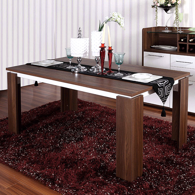 Стол обеденный Таблицы доставки Xiaoni Стальная рамка деревянный стол четыре-шесть человек обеденный стол