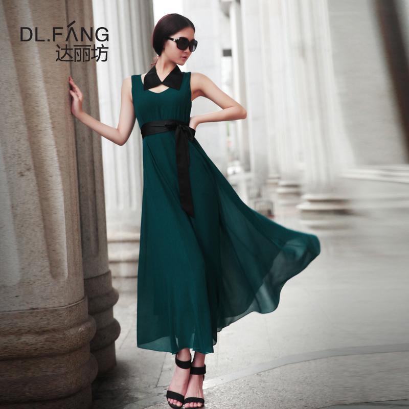 雪纺连衣裙女装夏装新款,2013欧美大牌气质,V领墨绿色,腰带礼服长裙