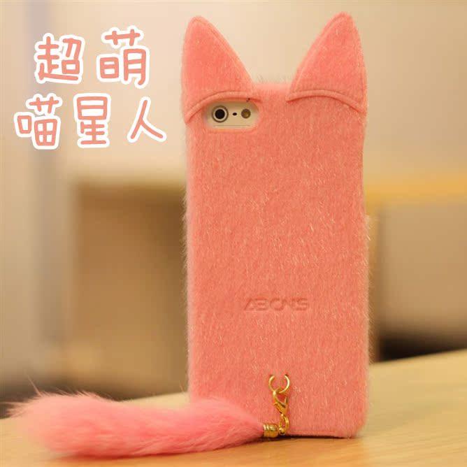 Apple чехол iphone5手机壳 可爱 毛绒猫 iphone5手机套 苹果5s喵喵超萌保护套