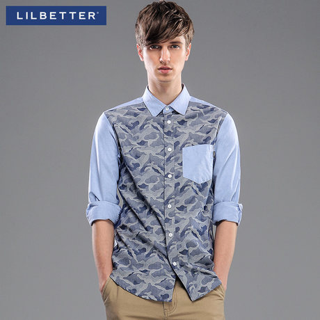 Lilbetter long sleeve shirt male 2014 spring is men camouflage cotton Oxford shirt wet spinning cultivate one's morality