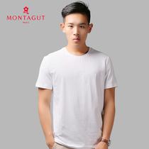 [马上结束] 梦特娇专柜正品 夏季高档棉质男士纯白色短袖针织衫莫代尔圆领T恤