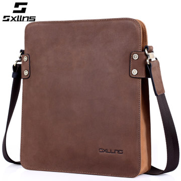 SXLLNS men's bags leather retro casual leather shoulder bag man inclined bag, men bag high-quality goods package man