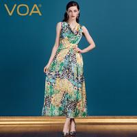 VOA维欧艾 高端真丝吊带连衣裙 丝绸长裙 时尚桑蚕丝女装A0109