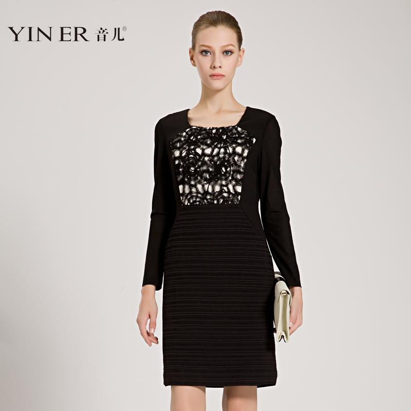 YINER音儿 专柜正品秋装高端女装蕾丝盘花长袖连衣裙83105040