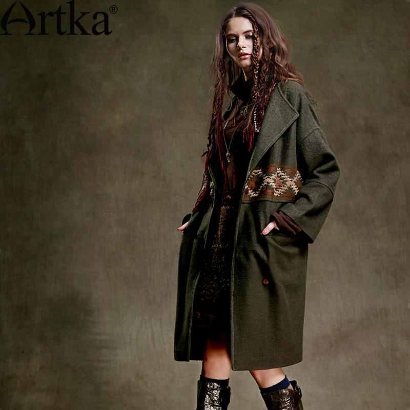 Шерстяное пальто в стиле бохо с рукавами 7/8, отложным воротником и врезными карманами
