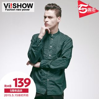 Viishow2015 spring and autumn new thin British fashion green shirt cotton long sleeve shirt shirt men