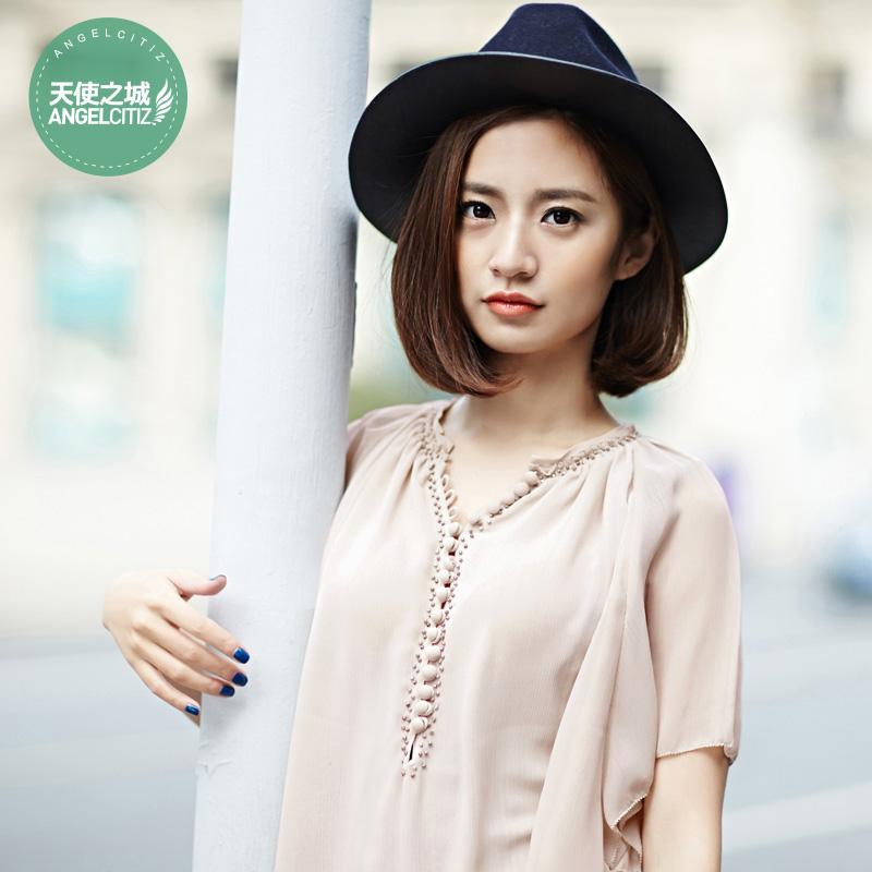 天使之城2015新款女夏装手工钉珠甜美宽松瑞丽短袖雪纺衫