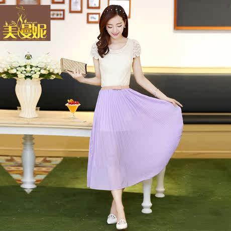 美漫妮女装2014夏装新款韩版夏季波西米亚长裙蕾丝短袖雪纺连衣裙