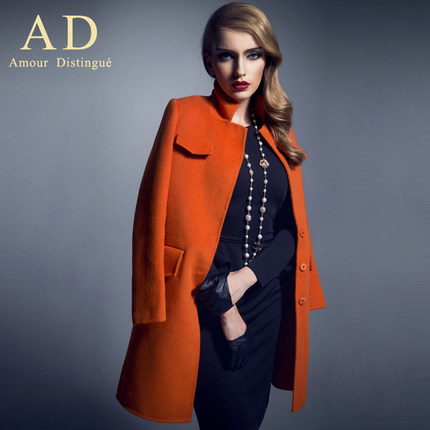 AD long leisure suit in Europe and the United States high-end brand wool woolen cloth coat collar couture autumn and win