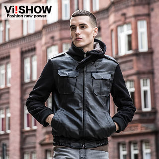 Viishow mens new leather men's leather jacket men's slim fit slim tide padded leather jacket