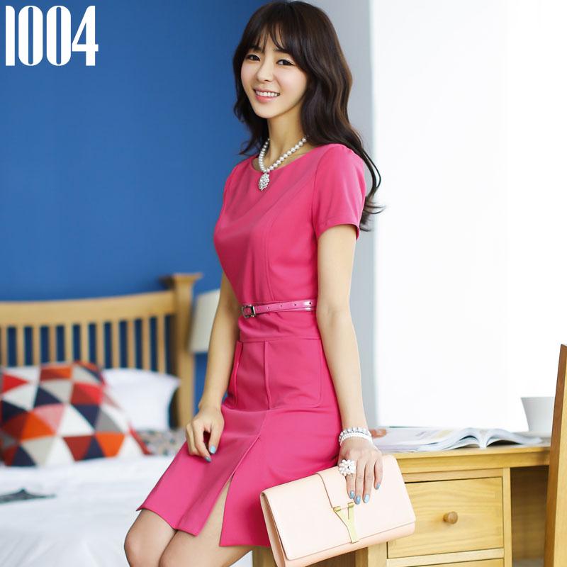 2015夏装新款女装韩版短袖针织连衣裙夏季OL职业大码修身包臀短裙