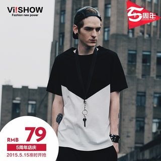 Viishow2015 summer dress new style men's short sleeve t-shirt in Europe and America the streets mixed colors short sleeve t shirt cotton short sleeve