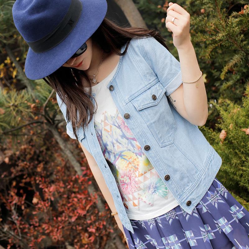 呛口小辣椒 2015夏装新款 短袖双口袋修身拼接牛仔衬衫