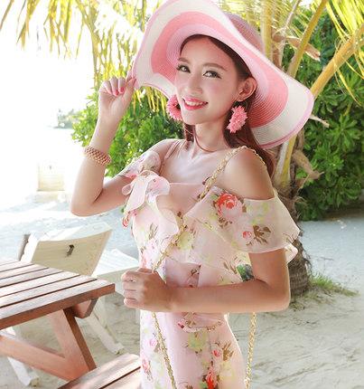 荷叶边吊带波西米亚沙滩裙