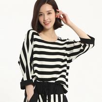 2015春夏新款长袖T恤 女韩版条纹宽松上衣 套头雪纺衫春秋衫小衫