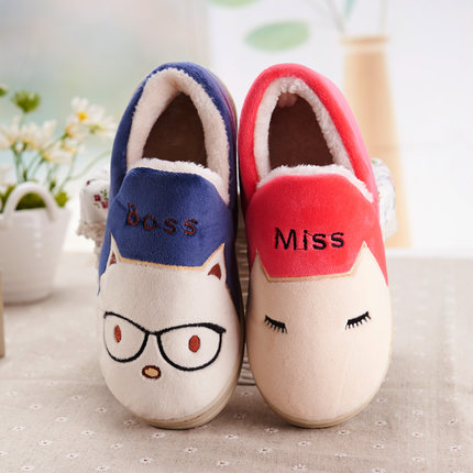 Cute couple warm winter wool slippers home slippers winter female models all inclusive deals with cotton slippers men