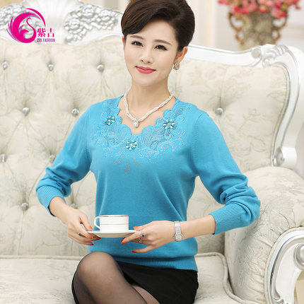 Middle-aged middle-aged ladies winter long-sleeved sweater temperament mother dress wool sweater bottoming shirt large size shirt