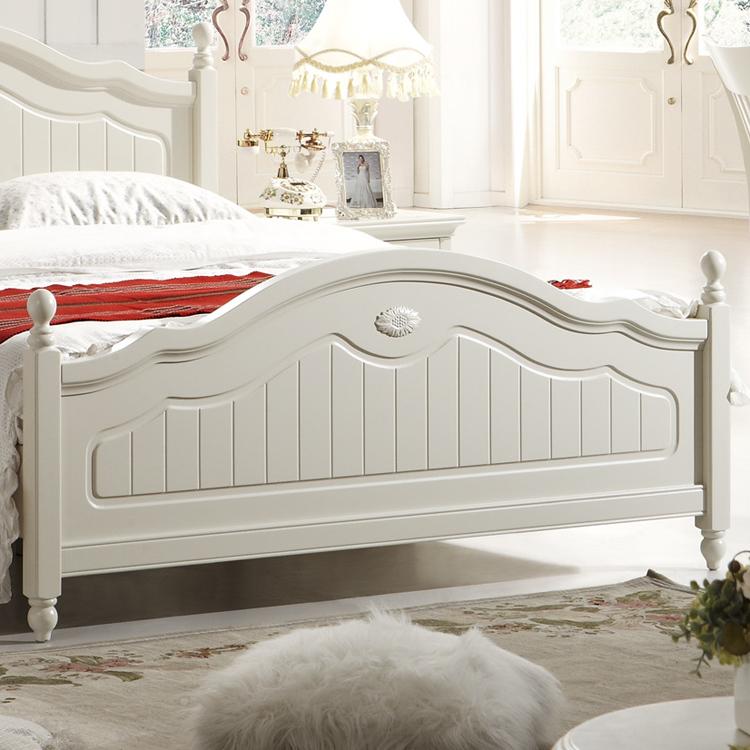 Кровать из массива дерева Гарантирует высокий пастырское дома белый твердых древесины кровать поле Корейский принцесса кровать кровать кровать 1,5 м двуспальная кровать