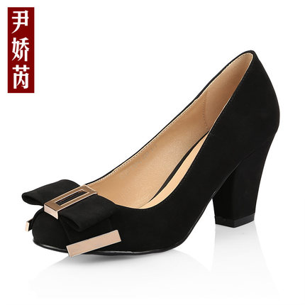 2014 spring and summer women's high-heeled shoes thick with round bow shoes small yards 33 yards yards 40-43 yards
