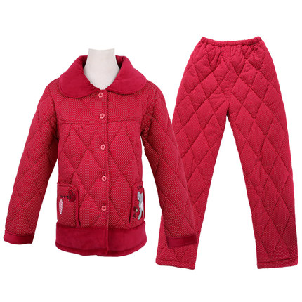 Green Jia 2014 winter pajamas female three thick quilted cotton knit long-sleeved tracksuit suit cartoon sweet