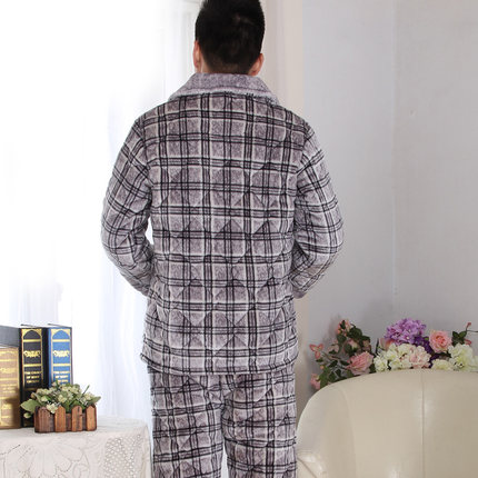 d918277a45 Get Quotations · Kerry Green Mens winter coral velvet quilted thick warm  pajamas three casual plaid suit tracksuit