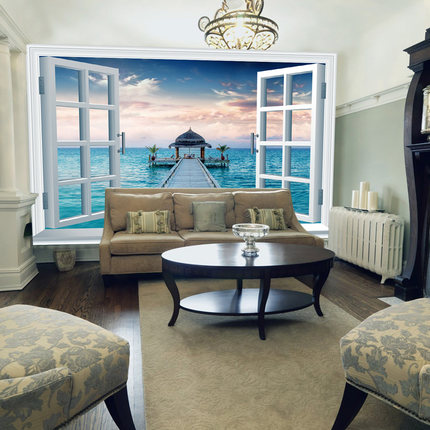 Buy 2015 new castle fake windows living room bedroom wall for 3d wallpaper for dining room