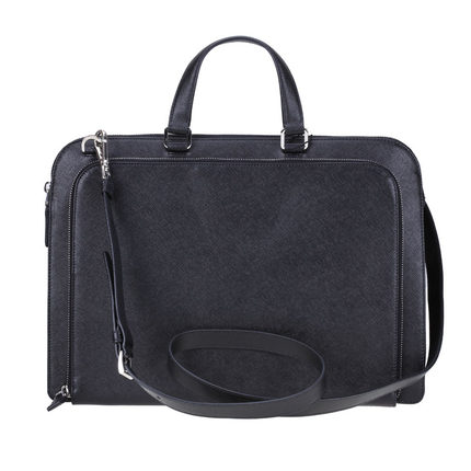 2863349030ba Get Quotations · PRADA Prada men Cartella embossed leather shoulder bag  hand carry briefcase VR0078