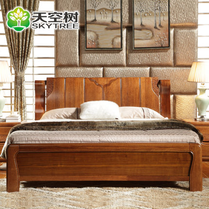 All Solid Wood Furniture Chinese Sky Tree Wood Double Bed 1.8 M High Import  Walnut Bed