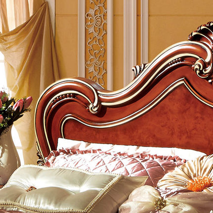 American Luxury Villa Leather Furniture With Storage Wooden Double Bed 1.8  M Marriage Bed Bedroom H8802