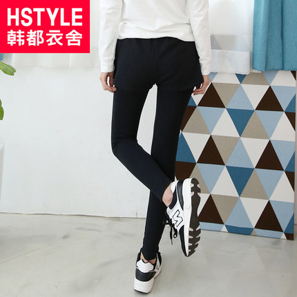 Korean homes have clothes Korean version of the new winter 2014 women's Slim thin leggings false two AA3243 jingling