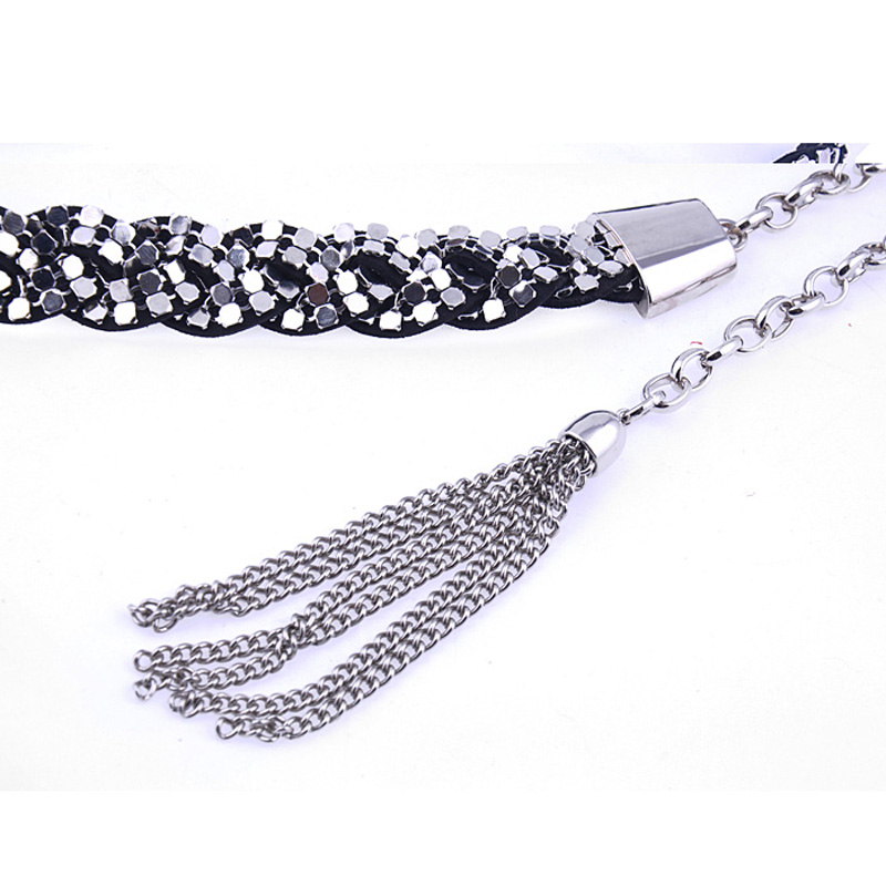 Ремень Женщин Соединенных Штатов бутик твист плетеный кистями Ms штраф декоративной металлической цепью пояса ремни