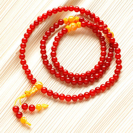 Habitat bliss opening red agate beads bracelet 108 multi-turn golden clam separated beads