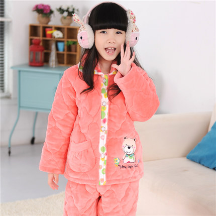 c95a1b858c Children thick quilted pajamas girls big boy in autumn and winter coral  velvet quilted flannel pajamas