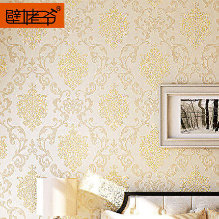 European flocking non-woven wallpaper wall grandfather living room TV backdrop wallpaper 3D stereoscopic thick wallpaper