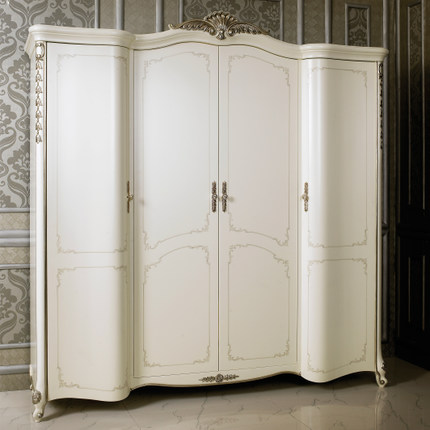 Jin Fang Special European White Wardrobe Closet Wood Bedroom Furniture  Relief Four Simple Wardrobe