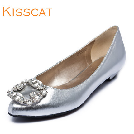 KISSCAT kissing sweet cat 2014 autumn diamond pointed low-heeled shoes shallow mouth wedding shoes wedding shoes
