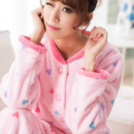 Korean version of the fall and winter flannel pajamas lady girl big yards thick long-sleeved pajamas coral velvet suit tracksuit