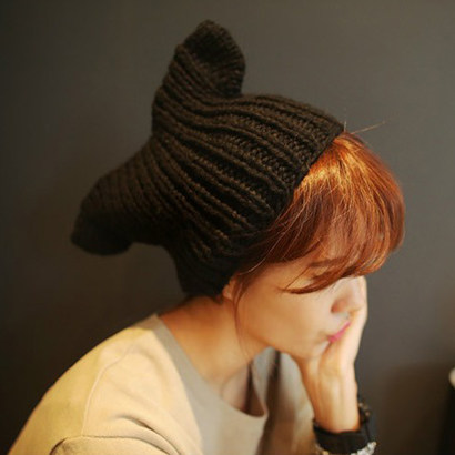 7e14c306 New wave winter hat knitted hat cute whale tail devil horn Orecchiette warm  knitted wool hat