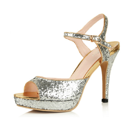 Rui Yin Jiao Korean silver sequined high heels shoes bridal shoes wedding banquet wedding shoes sandals star with money