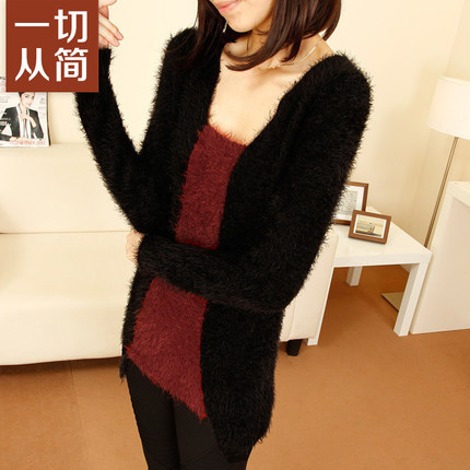 Slim new winter 2014 women's European and American mohair sweater hedging women hit color sweater long section of thick