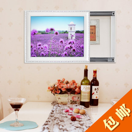 Warren beautiful framed painting can push-pull electric meter box box painted decorative painting decorative lavender seaside distribution box